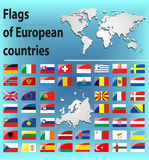 Glossy flags of European countries. Vector Graphics. Gray continents on a blue background. Illustrations for infographics. Planet Earth. States of Europe Stock Photography