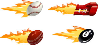 Glossy flaming sport icons. A glossy shiny flaming sport icon set. Baseball ball, boxing glove, cricket ball and black pool eight ball flying fast through the Stock Photo
