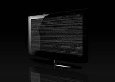 Glossy Flat Screen TV with Static Royalty Free Stock Image