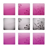 Glossy floral buttons Stock Images