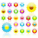 Glossy flower icon set Royalty Free Stock Images