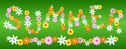 Glossy flower SUMMER letters on green Royalty Free Stock Photography