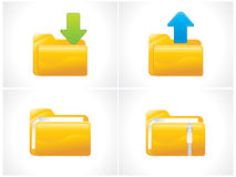 Glossy folder icons set Royalty Free Stock Image