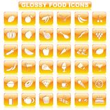 Glossy Food Button. Vector illustration of complete set of glossy food button Stock Photo