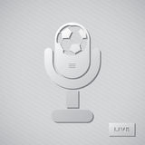 Glossy football fan mic. Live. Glossy football fan mic, isolated on grey striped background. Live Stock Image
