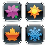 Glossy Four Season Buttons. Glossy black buttons, each with an icon representing one of the four seasons Stock Photography