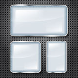 Glossy frames for your text on metal background Royalty Free Stock Images