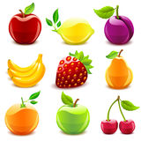 Glossy fruit set. Set of 9 glossy fruit icons Royalty Free Stock Photos