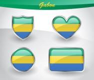 Glossy Gabon flag icon set Stock Photography