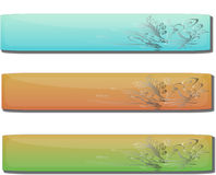 Glossy Gel Floral Banners. A fully scalable vector illustration of a set of 3 Glossy Gel Floral Banners. Jpeg & Illustrator AI file formats available Stock Photo
