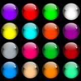 Glossy gel web buttons. Web buttons. Sixteen shiny gel buttons in assorted colors. Isolated on black vector illustration