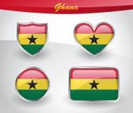 Glossy Ghana flag icon set Stock Photos