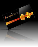 Glossy gift card with golden bow and ribbon. Vector illustration Stock Photos