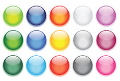 Glossy glass buttons for website icons Stock Photography