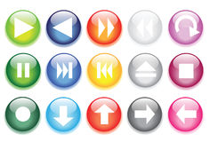 Glossy glass buttons for website icons Stock Photos