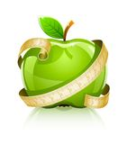 Glossy glass green apple with measuring line. Vector illustration Stock Photography