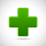 Glossy glass green cross Stock Photos