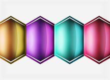 Glossy glass shapes abstract background. Vector Vector Illustration