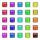 Glossy glass squares with reflection. Set of colored 3d buttons. Icons for web. Vector design square. Glossy glass squares with reflection Royalty Free Stock Image