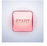 Glossy Glass START Button. Vector Illustration. Royalty Free Stock Photography