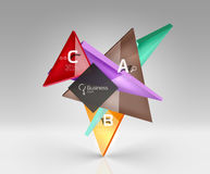Glossy glass translucent triangles on 3d empty space. Vector template background for workflow layout, diagram, number options or web design Stock Photos