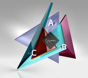 Glossy glass translucent triangles on 3d empty space Royalty Free Stock Image