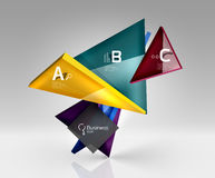 Glossy glass translucent triangles on 3d empty space. Vector template background for workflow layout, diagram, number options or web design Royalty Free Stock Image