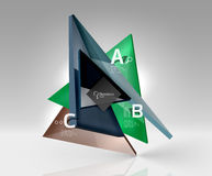Glossy glass translucent triangles on 3d empty space. Vector template background for workflow layout, diagram, number options or web design Royalty Free Stock Images
