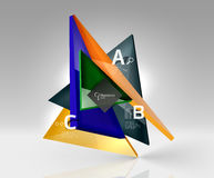 Glossy glass translucent triangles on 3d empty space Stock Photography