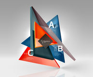 Glossy glass translucent triangles on 3d empty space Royalty Free Stock Images