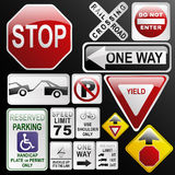 Glossy, glassy road signs. Make your own glossy glassy web 2.0 warning / danger road signs in vector form (no park; one way; rail road; stop; weight limit Royalty Free Stock Image