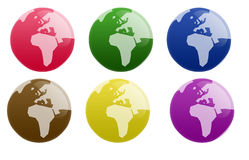 Glossy Globe Button Stock Photography