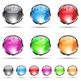 Glossy globe icons Royalty Free Stock Photography