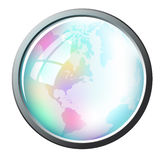 Glossy globe inside a frame Stock Photos