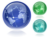 Glossy Globe with Orbits Stock Photo