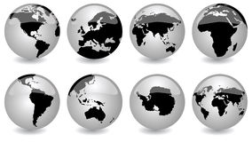 Glossy globes. Vector icon set for our world Royalty Free Stock Image