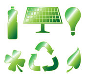 Glossy Go Green Icons Stock Image
