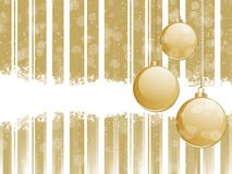 Glossy gold baubles on a strped background Stock Photos