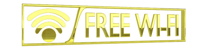 Glossy gold free wifi icon - 3D render isolated on Royalty Free Stock Image