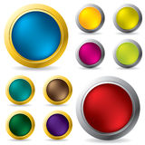Glossy gold and silver framed buttons. Glossy gold and silver framed button set Stock Photos