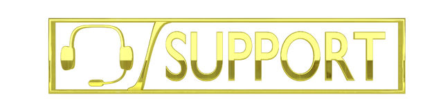 Glossy gold support icon, isolated on white royalty free illustration