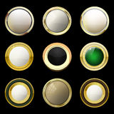 Glossy and gold vintage labels . Colored stones set in gold. Bro Royalty Free Stock Image