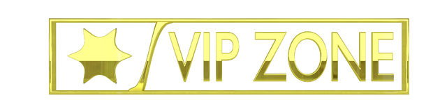 Glossy gold vip zone icon - 3D render isolated on Royalty Free Stock Photo