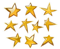 Glossy gold and yellow stars Stock Photo