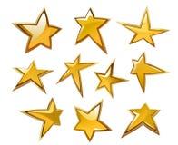 Glossy gold and yellow stars Stock Photo