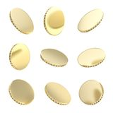 Glossy golden coins in nine foreshortening Royalty Free Stock Photos