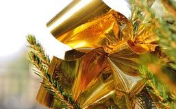 Glossy golden ribbon Stock Photo