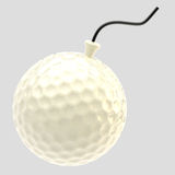 Glossy golf ball as a bomb isolated Stock Photos