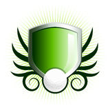 Glossy golf shield emblem. With floral vine accents Royalty Free Stock Images