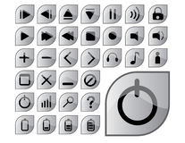 Glossy gray icons. A complete set of glossy gray icons Royalty Free Stock Photos